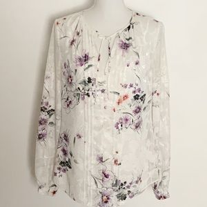 WHBM-Floral Lined Tunic with Buttons. Size 4